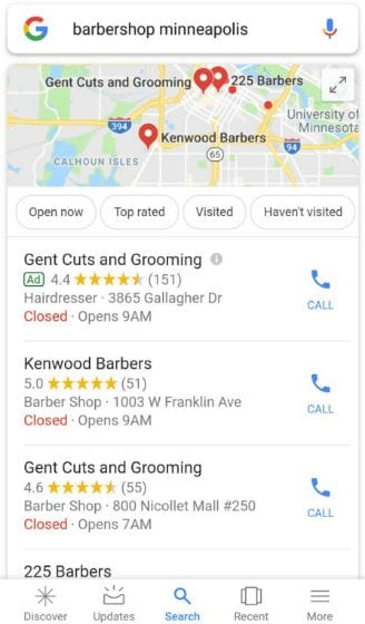 example of Google's local pack - improving your google ranking