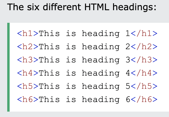 example of the six different HTML headings
