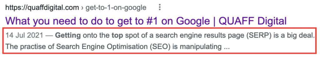 a common SEO mistake is not updating the meta description of a post or page