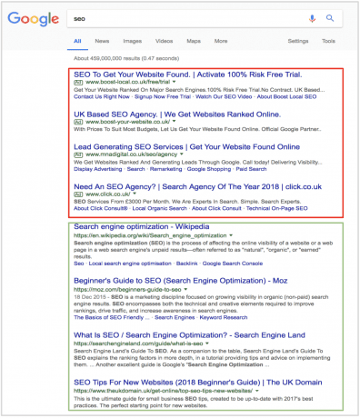 a screenshot of Google search results for the search terms SEO